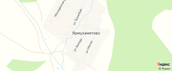 Улица Магаш на карте деревни Ярмухаметово с номерами домов