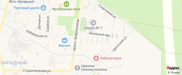 Школьный переулок на карте Межгорья с номерами домов