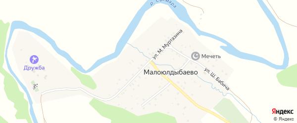Улица М.Муртазина на карте деревни Малоюлдыбаево с номерами домов