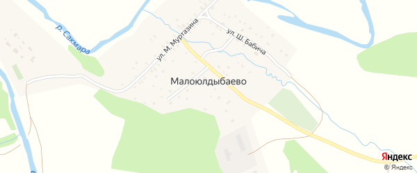 Улица И.Дильмухаметова на карте деревни Малоюлдыбаево с номерами домов
