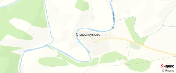 Карта деревни Староякупово в Башкортостане с улицами и номерами домов