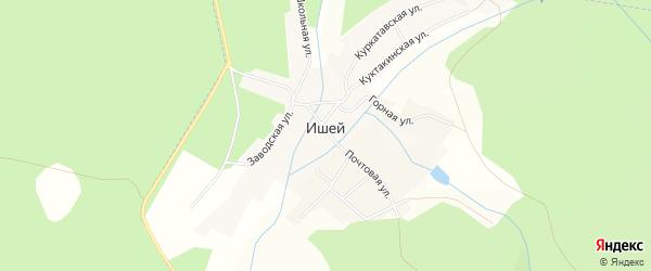 Карта села Ишей в Башкортостане с улицами и номерами домов
