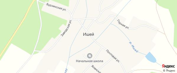 Леспромхозовский переулок на карте села Ишей с номерами домов