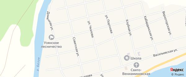 Улица Чкалова на карте села Узяна с номерами домов