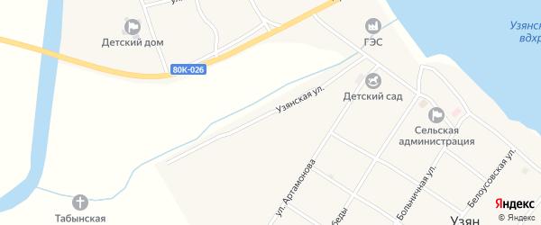Узянская улица на карте села Узяна с номерами домов