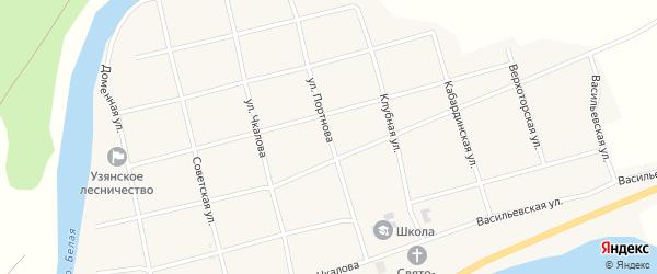 Улица Портнова на карте села Узяна с номерами домов