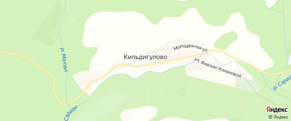 Карта деревни Кильдигулово в Башкортостане с улицами и номерами домов