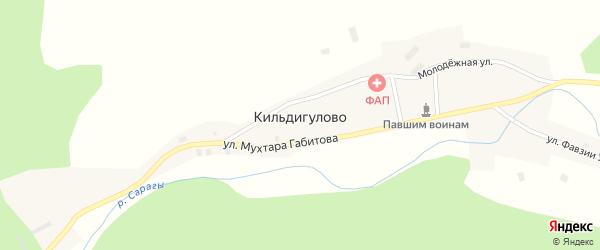 Улица Мухтара Габитова на карте деревни Кильдигулово с номерами домов