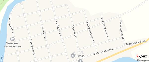 Клубная улица на карте села Узяна с номерами домов