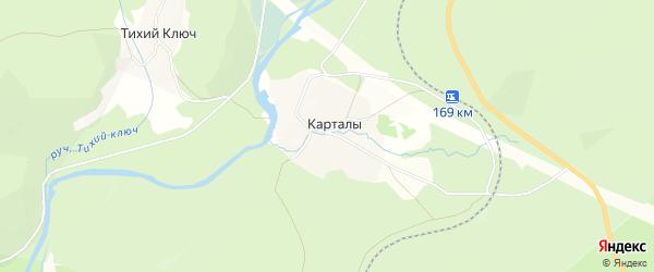 Карта деревни Карталы в Башкортостане с улицами и номерами домов