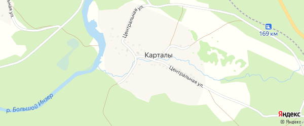 Горная улица на карте деревни Карталы с номерами домов