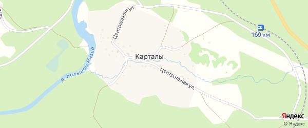 Центральная улица на карте деревни Карталы с номерами домов
