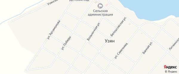 Больничная улица на карте села Узяна с номерами домов