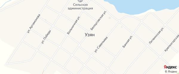 Крепкогорская улица на карте села Узяна с номерами домов
