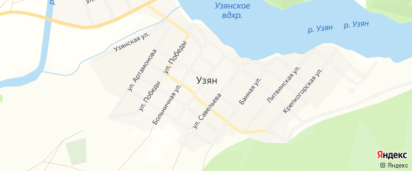 Карта села Узяна в Башкортостане с улицами и номерами домов