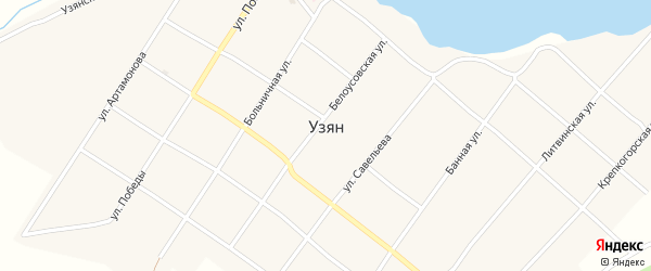 Литвинская улица на карте села Узяна с номерами домов