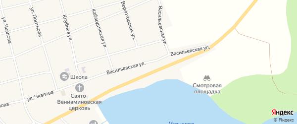 Васильевская улица на карте села Узяна с номерами домов
