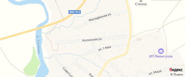 Колхозная улица на карте села Юлдыбаево с номерами домов