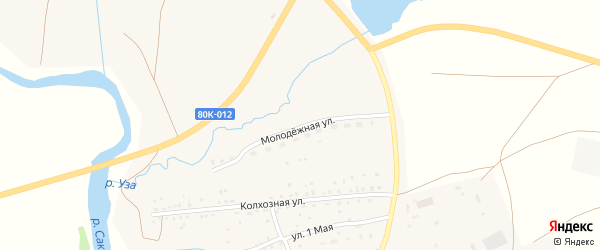 Молодежная улица на карте села Юлдыбаево с номерами домов
