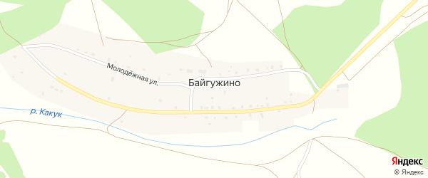 Молодежная улица на карте деревни Байгужино с номерами домов