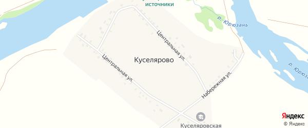 Центральная улица на карте деревни Куселярово с номерами домов