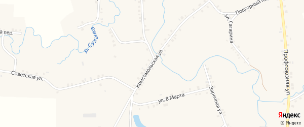 Комсомольская улица на карте села Дувана с номерами домов