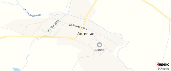 Карта села Антингана в Башкортостане с улицами и номерами домов