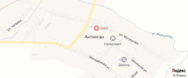 Улица Новоселов на карте села Антингана с номерами домов