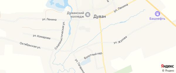 Карта села Дувана в Башкортостане с улицами и номерами домов
