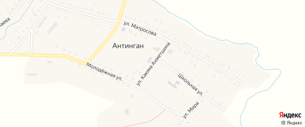 Улица Каюма Ахметшина на карте села Антингана с номерами домов