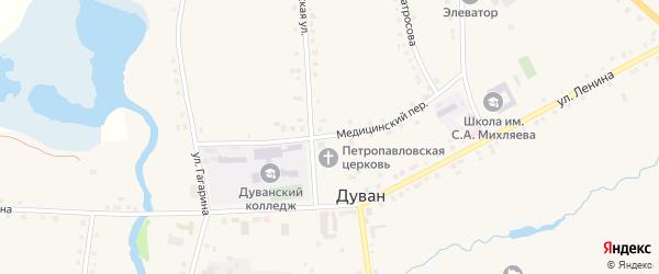 Медицинский переулок на карте села Дувана с номерами домов