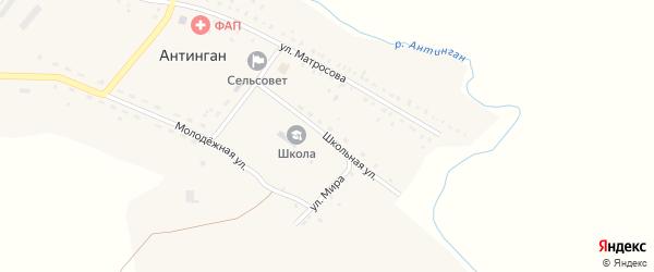 Школьная улица на карте села Антингана с номерами домов