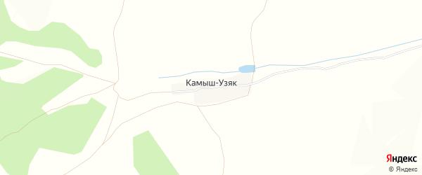 Карта деревни Камыша-Узяка в Башкортостане с улицами и номерами домов