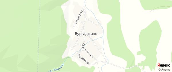 Карта деревни Бургаджино в Башкортостане с улицами и номерами домов