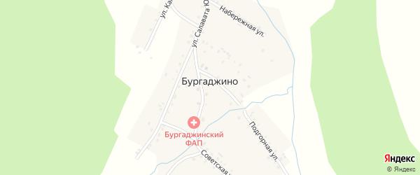 Подгорная улица на карте деревни Бургаджино с номерами домов