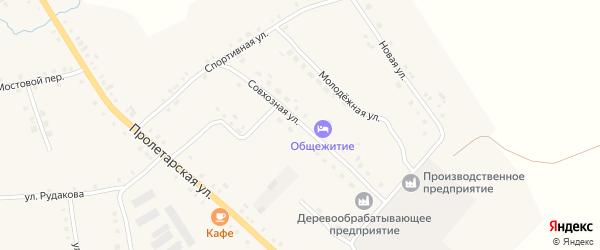 Совхозная улица на карте села Дувана с номерами домов