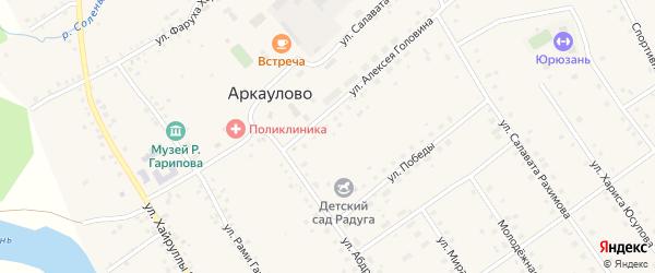 Береговая улица на карте села Аркаулово с номерами домов
