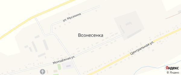 Улица Малиновка на карте села Вознесенки с номерами домов