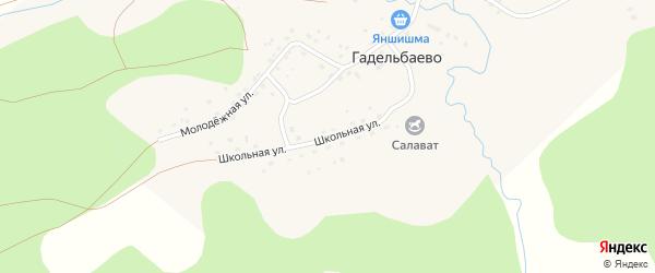 Школьная улица на карте деревни Гадельбаево с номерами домов