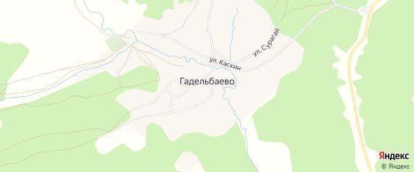 Карта деревни Гадельбаево в Башкортостане с улицами и номерами домов