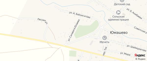Улица С.Юлаева на карте села Юмашево с номерами домов