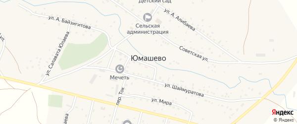 Улица Ф.Юнусбаева на карте села Юмашево с номерами домов