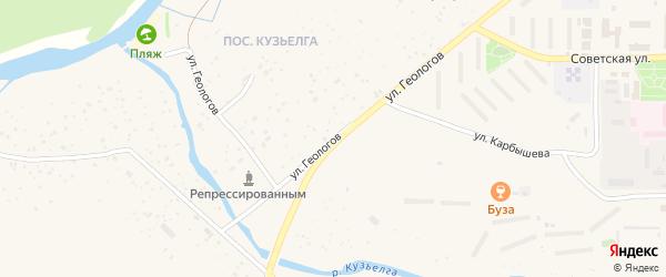 Улица Геологов на карте Межгорья с номерами домов