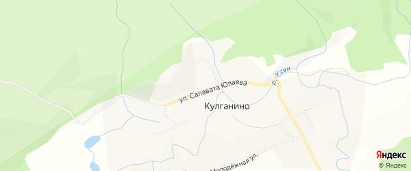 Карта деревни Кулганино в Башкортостане с улицами и номерами домов