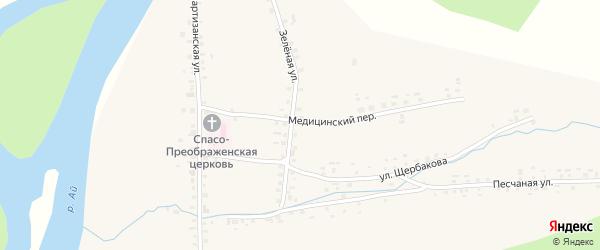 Зеленая улица на карте села Метели с номерами домов