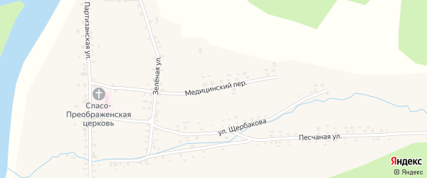 Медицинский переулок на карте села Метели с номерами домов