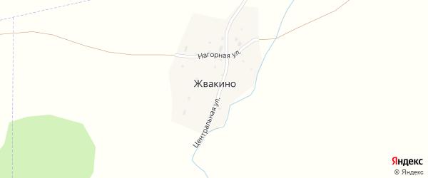 Центральная улица на карте деревни Жвакино с номерами домов
