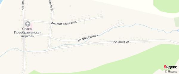 Улица Щербакова на карте села Метели с номерами домов