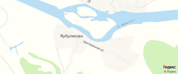 Центральная улица на карте деревни Яубуляково с номерами домов