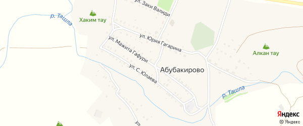 Улица М.Гафури на карте села Абубакирово с номерами домов
